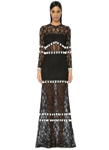 Alexis Uzun Dantelli Abiye Elbise Siyah